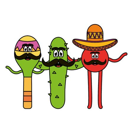 mexican emoji with hat and cactus character vector illustration design