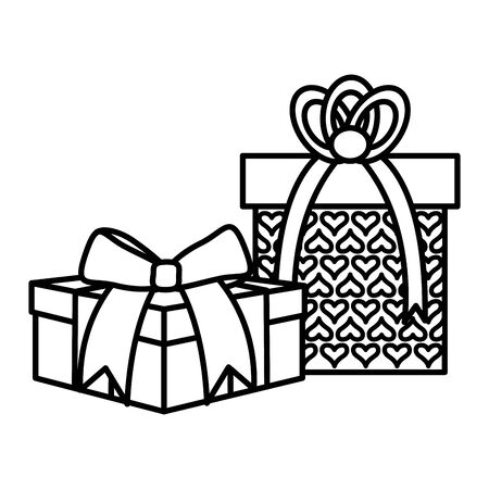 party gifts boxes presents vector illustration design Çizim
