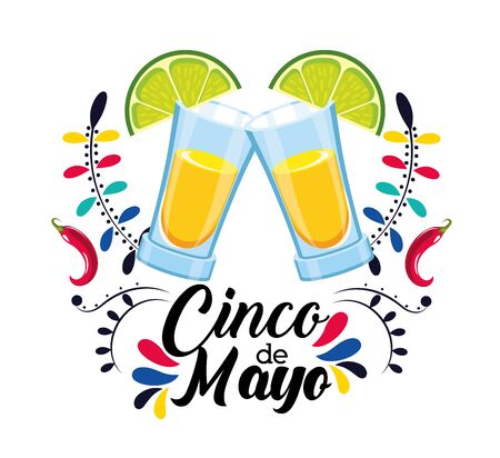 tequila beverage with lemon to mexican event vector illustration Illustration