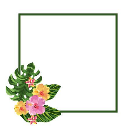 nature flowers square cartoon vector illustration graphic design