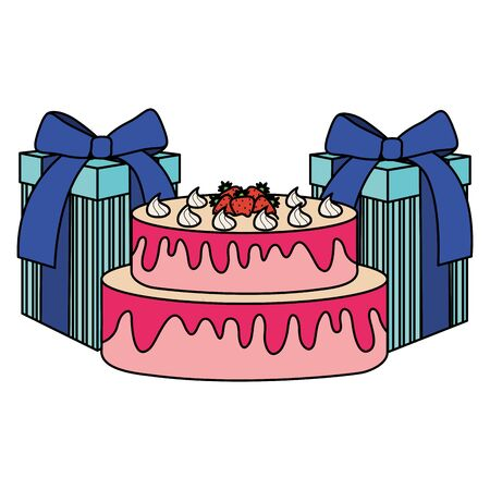 gifts boxes presents with sweet cake vector illustration design Çizim