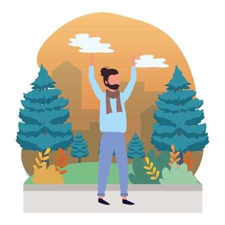 human man body wearing scarf raised hands cartoon vector illustration graphic design 일러스트