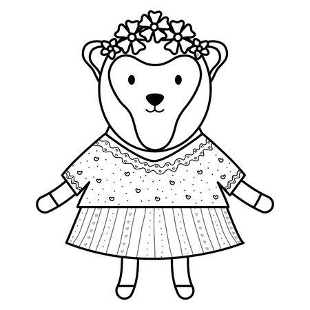 cute female monkey childish character vector illustration design Ilustração