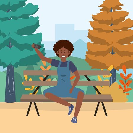 Millenial person waving hello sitting in park bench overall afro background vector illustration graphic design Ilustração