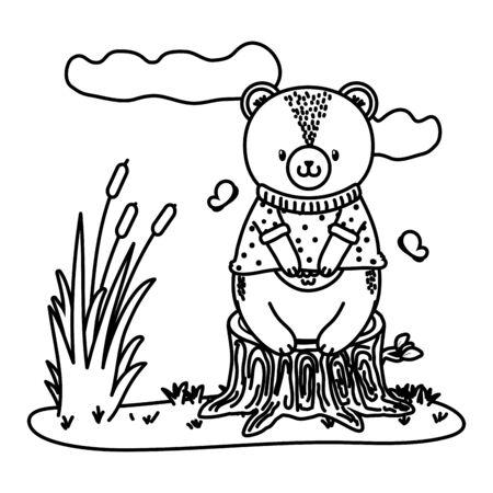 cute little animal bear at nature park cartoon vector illustration graphic design