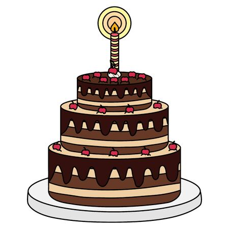 delicious sweet cake with one candle vector illustration design