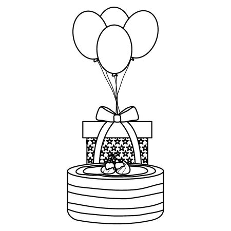 gift box with sweet cake and balloons helium floating vector illustration design  イラスト・ベクター素材