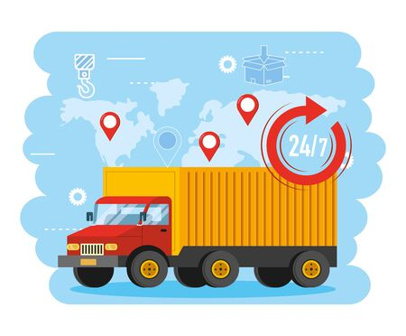truck transport with global map and location signs Illustration