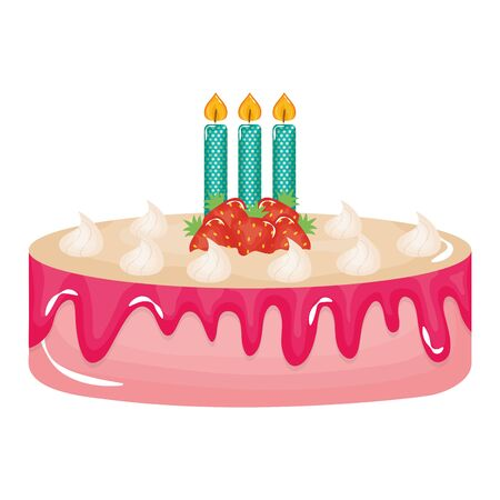 delicious sweet cake with strawberries and candles vector illustration design Banco de Imagens - 124991988