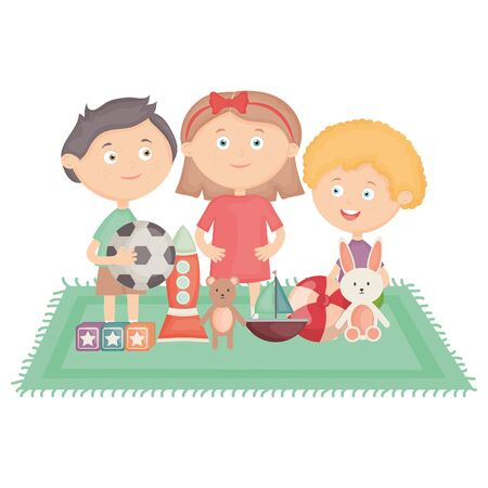 cute little kids group playing with toys characters Ilustração