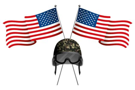 united state flag with military helmet and goggles vector illustration graphic design