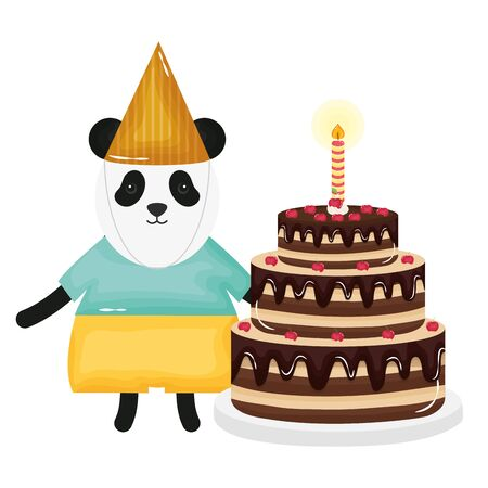 cute bear panda sweet cake in birthday party vector illustration design