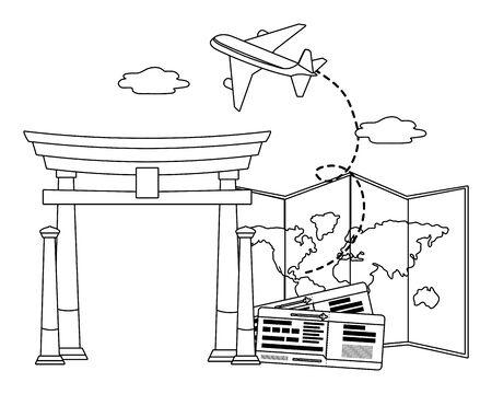 china arch landmark design, Travel trip vacation tourism journey and tourist theme Vector illustration Archivio Fotografico - 124992081