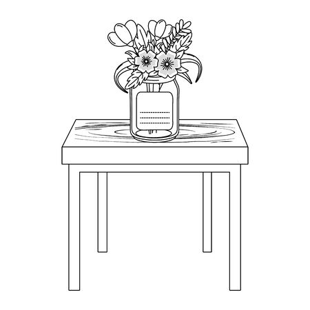 floral nature flowers mason jar plant pot over wooden table cartoon vector illustration graphic design Illustration