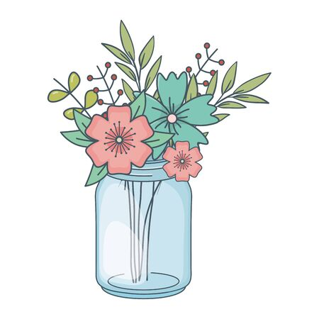 beautiful nature flowers inside decoration mason jar bottle plant pot cartoon vector illustration graphic design Ilustração