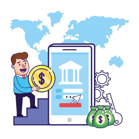 Businessman banking financial planning Ilustrace