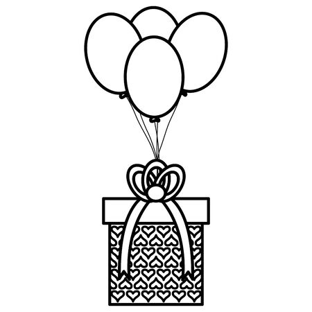 gift box with balloons helium floating vector illustration design