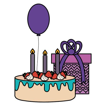 gift box with sweet cake and balloon helium floating vector illustration design Çizim
