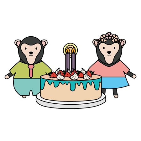 cute monkeys couple with sweet cake in birthday party vector illustration design