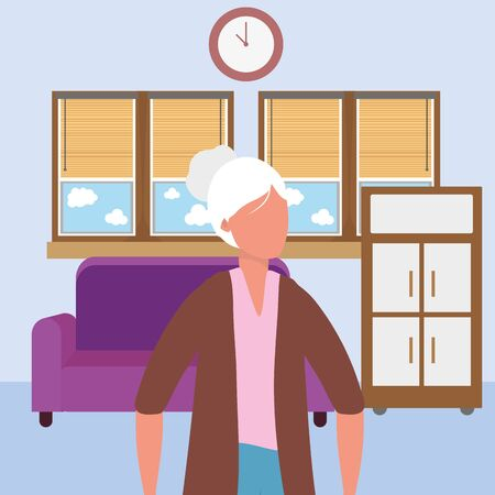 casual happy people old woman indoor scene at house home with furniture cartoon vector illustration graphic design  イラスト・ベクター素材