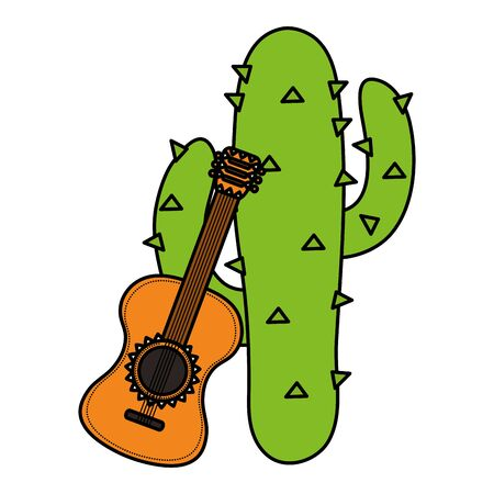 mexican cactus plant with guitar Illustration