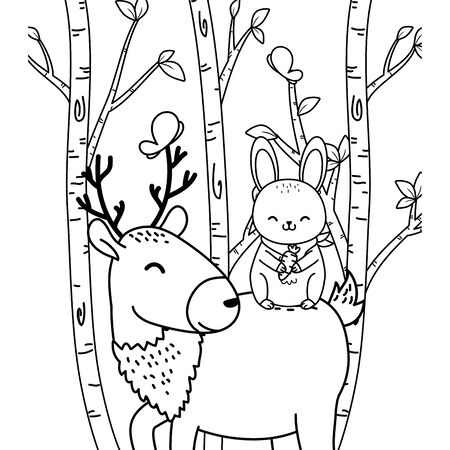 cute rabbit and reindeer in the field woodland characters vector illustration design