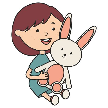 cute little girl with rabbit stuffed vector illustration design