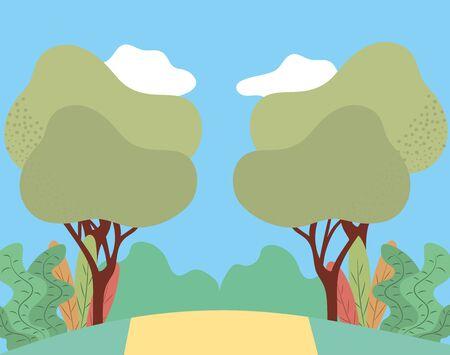 park landscape icon cartoon vector illustration graphic design