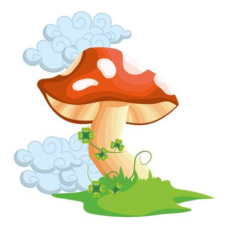 raw mushroom cartoon vector illustration graphic design Stock Illustratie