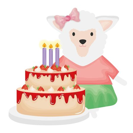 cute sheep with sweet cake in birthday party vector illustration design