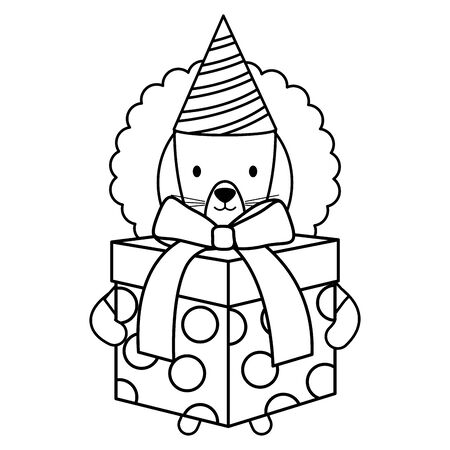 cute lion with giftbox and hat in party celebration vector illustration design