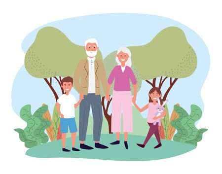 cute grandfather and grandmother with theirs happy kids vector illustration