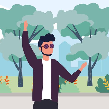 causal people man raised hands outdoor scene cartoon vector illustration graphic design 向量圖像