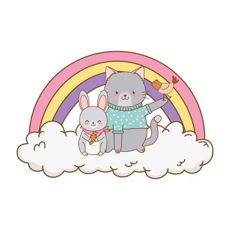 cute cat in cloud with rainbow woodland character vector illustration design