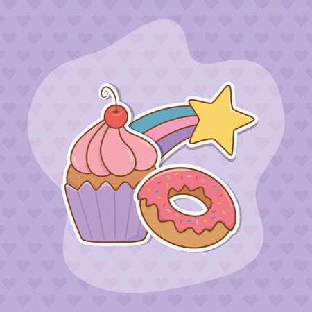 sweet cupcake and donut stickers kawaii style vector illustration design