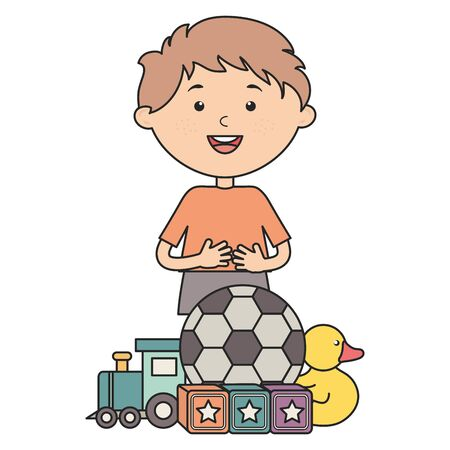 cute little boy with soccer ball and toys vector illustration design
