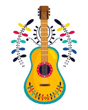 mexican culture mexico guitar instrument cartoon vector illustration graphic design  イラスト・ベクター素材