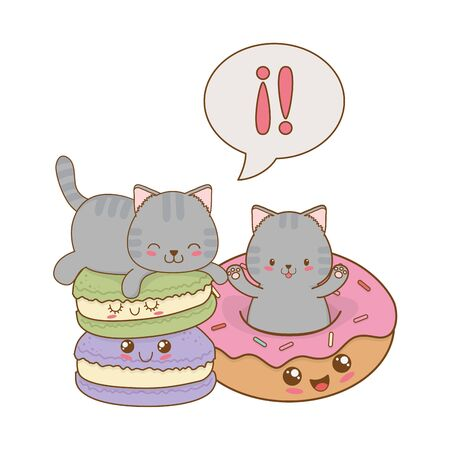 cute little cats with donuts kawaii characters vector illustration design 스톡 콘텐츠 - 124992684