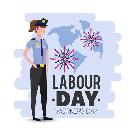 policewoman with uniform to labour day holiday vector illustration 向量圖像