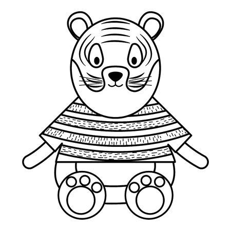 cute tiger childish character vector illustration design