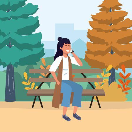 Millenial person smartphone sitting in park bench social media conversation vest background vector illustration graphic design