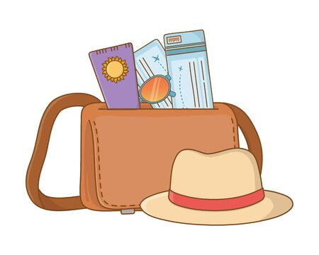 Tourist trip summer travel leather bag hat with sunscreen lotion sunglasses and plane tickets adventure exploration vector illustration graphic design