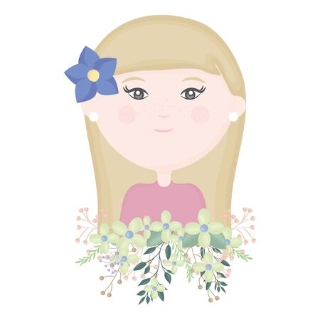 cute girl with floral bouquet and flower in hair character vector illustration design Illustration