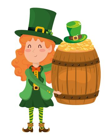 st patricks day elf with wooden barrel cartoon vector illustration graphic design