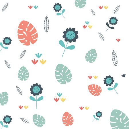 Flowers and leaves design, floral nature plant ornament garden decoration and botany theme Vector illustration Illustration