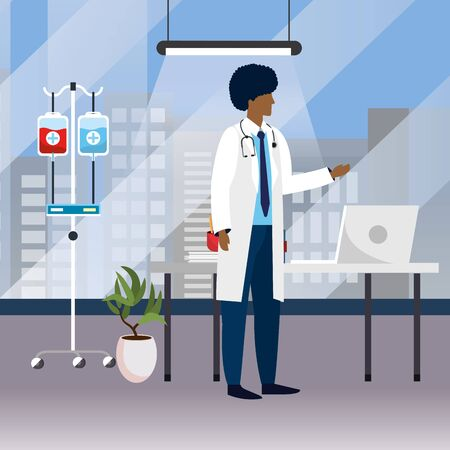 healthcare medical doctor man at doctors office cartoon vector illustration graphic design