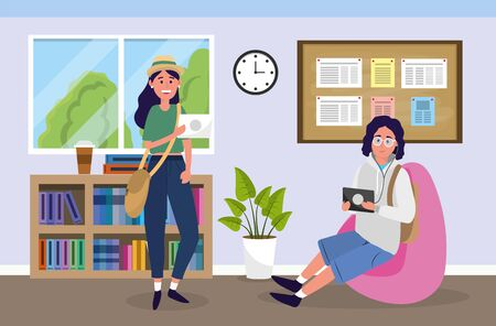 university girl and boy to education knowledge vector illustration