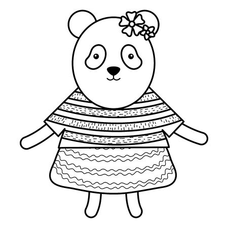 cute female bear panda childish character vector illustration design Иллюстрация