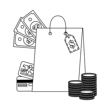 Bag design, Store shopping online ecommerce media market and internet theme Vector illustration