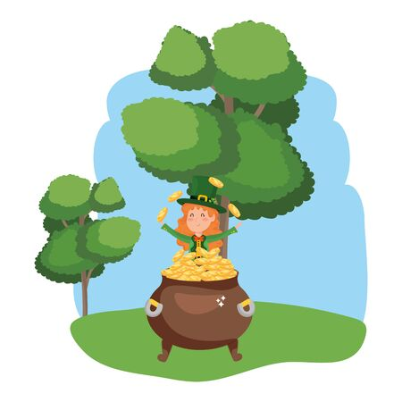 st patricks day elf with gold coins pot cartoon vector illustration graphic design